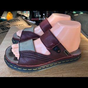 Dr Martens Red/Gray Leather Slide On Sandal Size 6